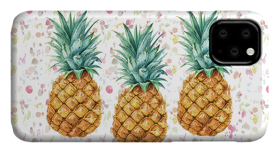 Pineapples IPhone Case featuring the painting When Life Gives You Pineapple Make A Pina Colada by Georgeta Blanaru