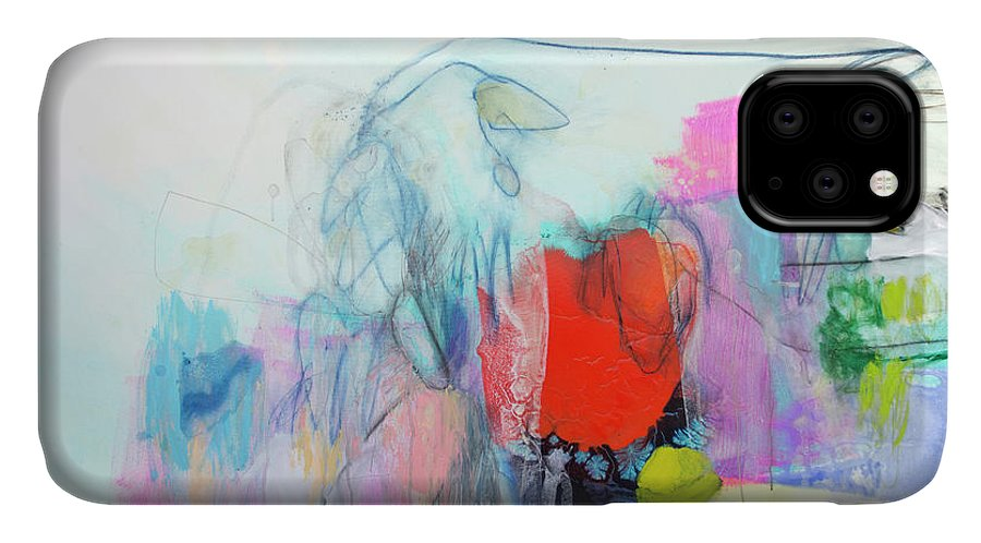 Abstract IPhone 11 Case featuring the painting Whisper by Claire Desjardins