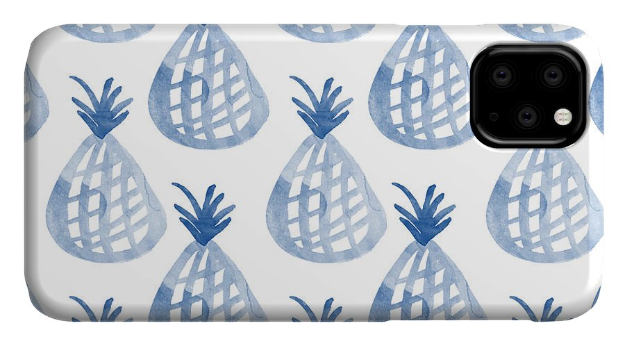 Pineapple IPhone Case featuring the mixed media White and Blue Pineapple Party by Linda Woods