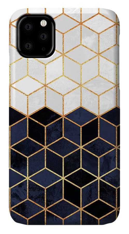 Graphic IPhone 11 Case featuring the digital art White And Navy Cubes by Elisabeth Fredriksson