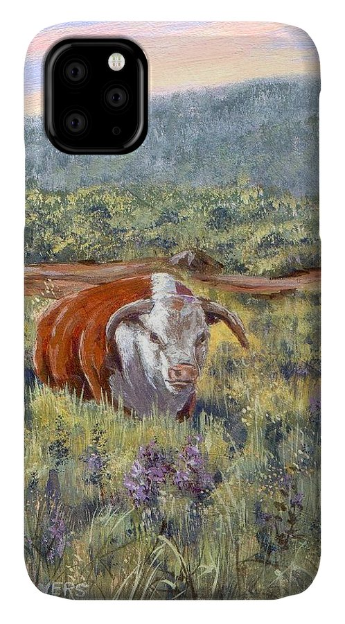 Hereford Bull IPhone Case featuring the painting White Face Bull by Peggy Conyers