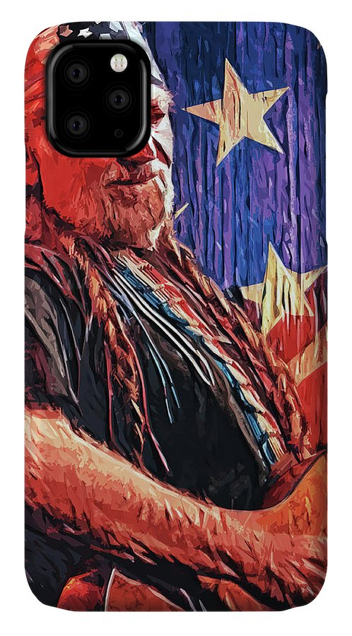 Willie Nelson IPhone Case featuring the digital art Willie Nelson by Zapista OU