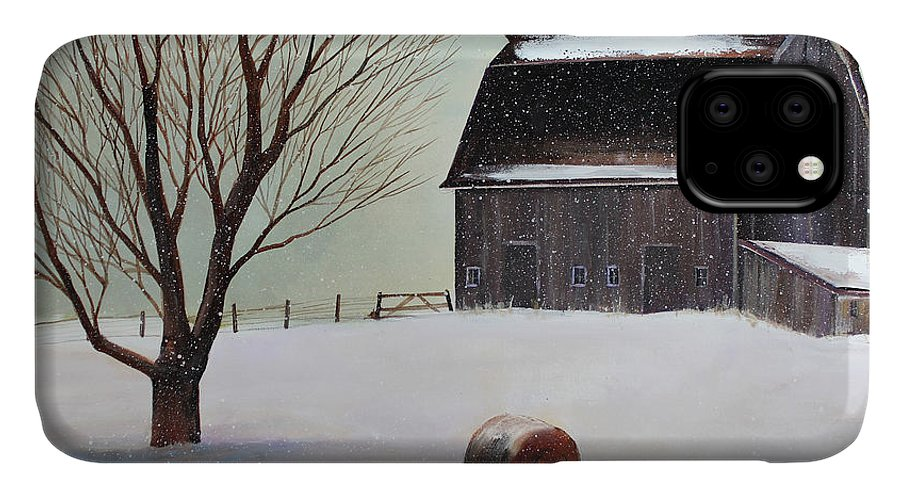 Barn IPhone 11 Case featuring the painting Winter Barn II by Toni Grote