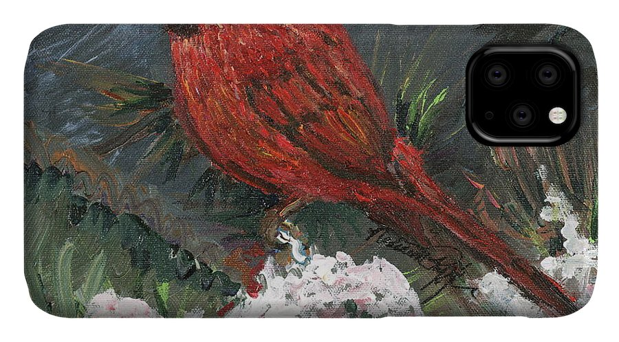Bird IPhone Case featuring the painting Winter Cardinal by Nadine Rippelmeyer