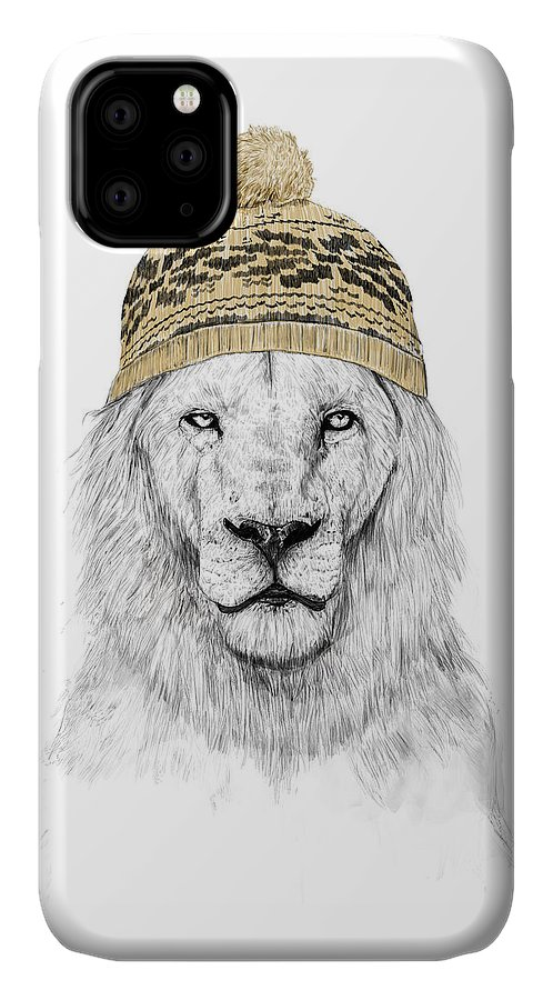 Lion IPhone Case featuring the mixed media Winter Is Coming by Balazs Solti