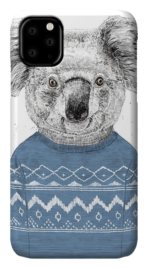 Koala IPhone Case featuring the drawing Winter Koala by Balazs Solti