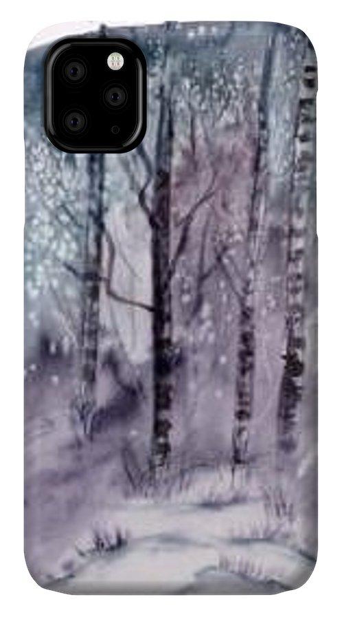Watercolor Landscape Painting IPhone Case featuring the painting WINTER snow landscape painting print by Derek Mccrea