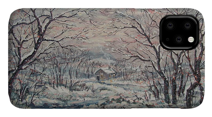 Landscape IPhone Case featuring the painting Wintery December by Leonard Holland