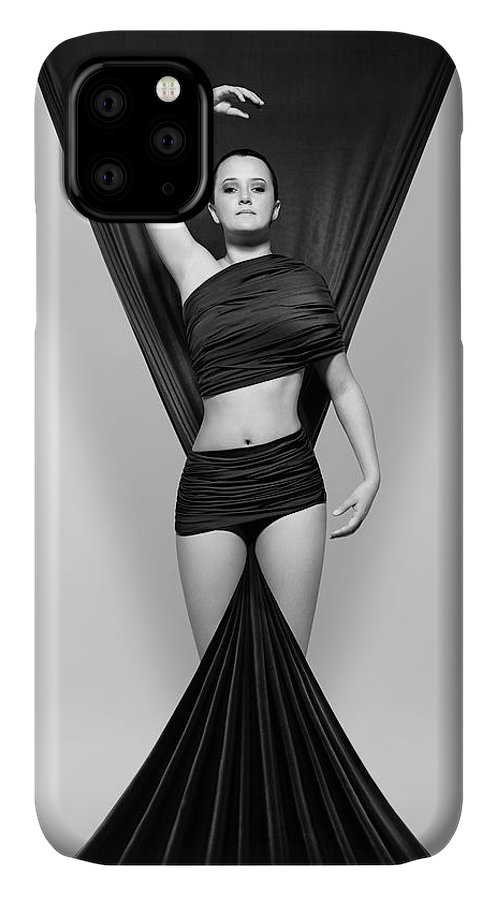 Woman IPhone 11 Case featuring the photograph Woman Draped In Black Cloth by Johan Swanepoel