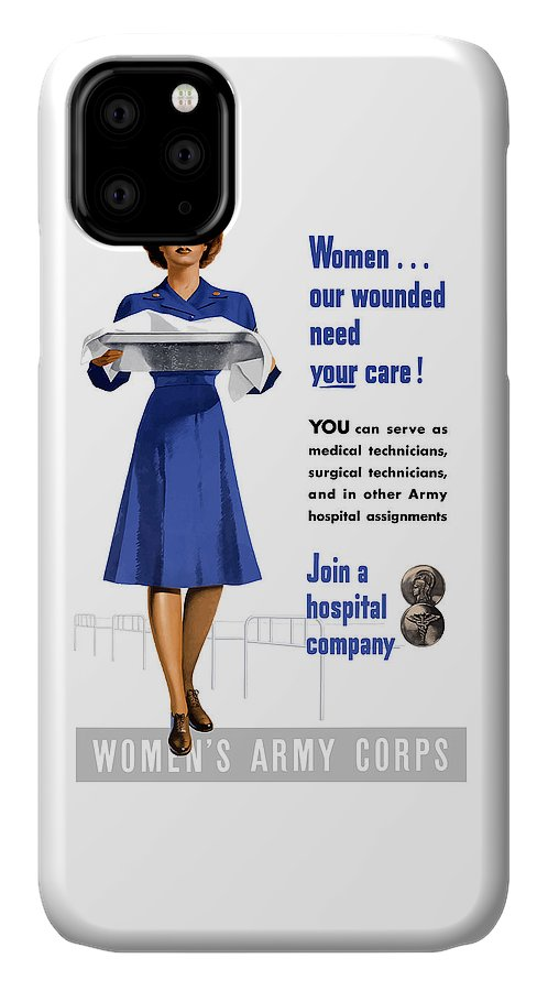 Nurse IPhone Case featuring the painting Women's Army Corps - Ww2 by War Is Hell Store