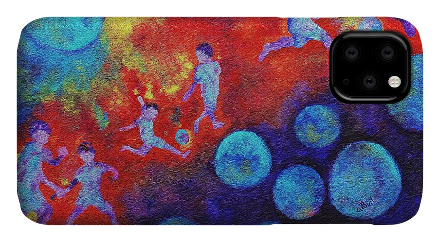 Soccer IPhone 11 Case featuring the painting World Soccer Dreams by Claire Bull