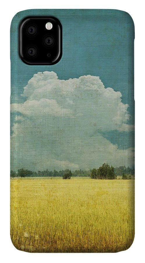 Abstract IPhone Case featuring the photograph Yellow field on old grunge paper by Setsiri Silapasuwanchai