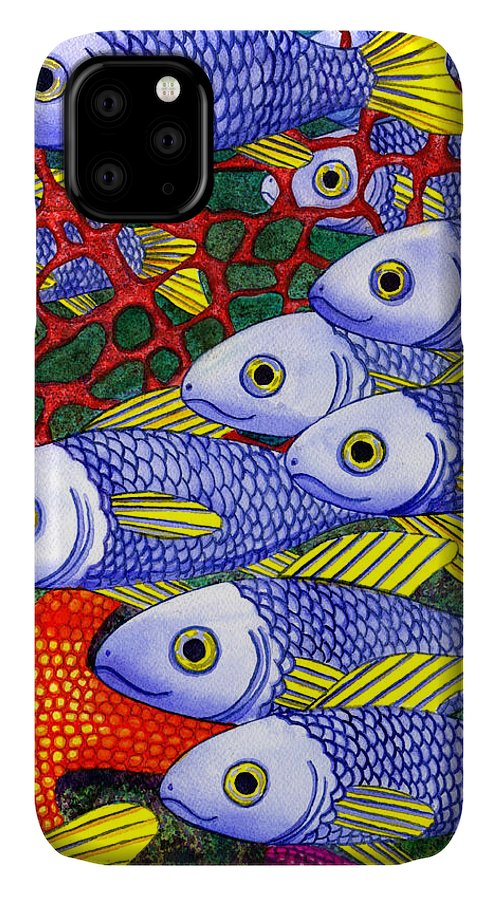 Fish IPhone 11 Case featuring the painting Yellow Fins by Catherine G McElroy