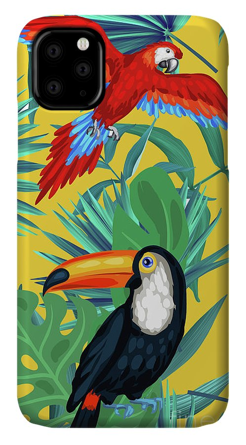 Parrot IPhone Case featuring the digital art Yellow Tropic by Mark Ashkenazi