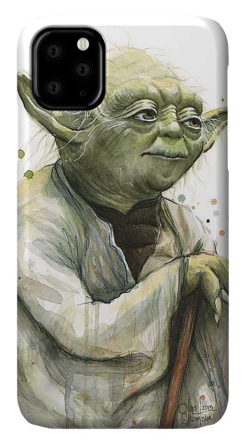 Yoda IPhone 11 Case featuring the painting Yoda Watercolor by Olga Shvartsur