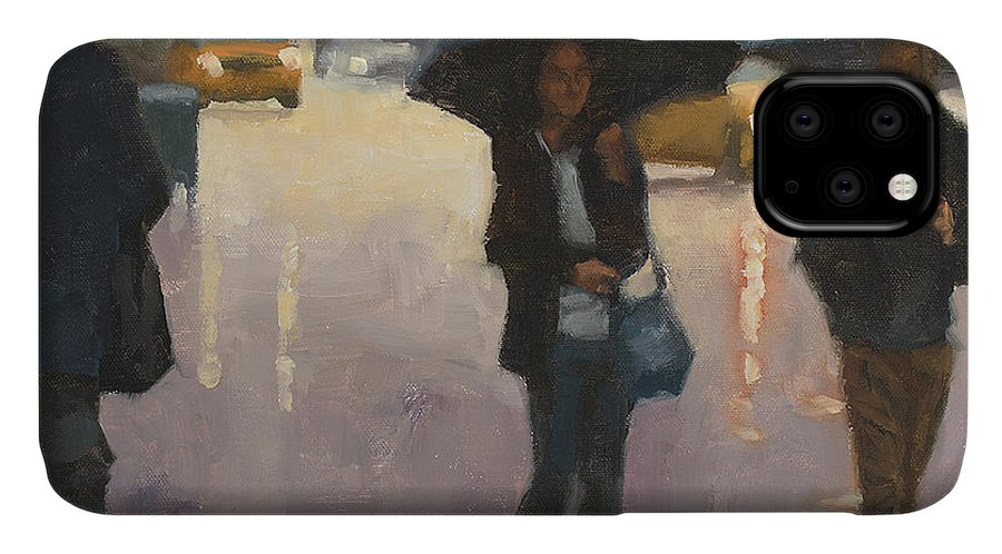Umbrella Scene IPhone 11 Case featuring the painting You And I And The Rain by Tate Hamilton