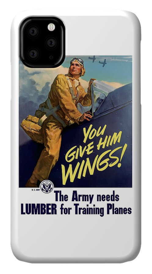 Aircraft IPhone Case featuring the painting You Give Him Wings - Ww2 by War Is Hell Store