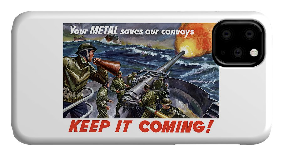 Wwii IPhone Case featuring the painting Your Metal Saves Our Convoys by War Is Hell Store