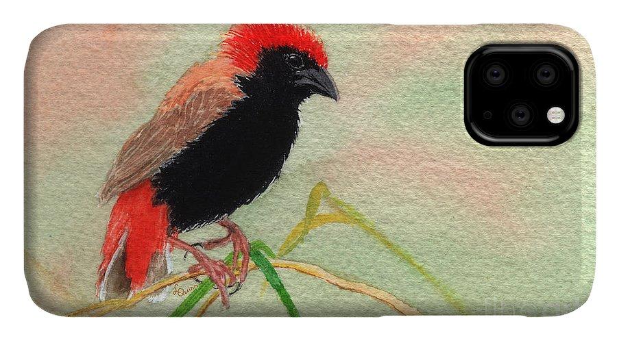 Bird IPhone Case featuring the painting Zanzibar Red Bishop by Lynn Quinn