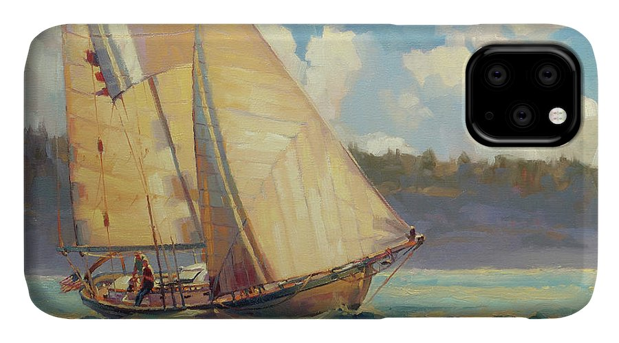 Sailboat IPhone Case featuring the painting Zephyr by Steve Henderson