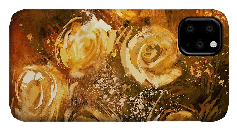 Greeting IPhone Case featuring the digital art Abstract Flowers Vintage Style,digital by Tithi Luadthong
