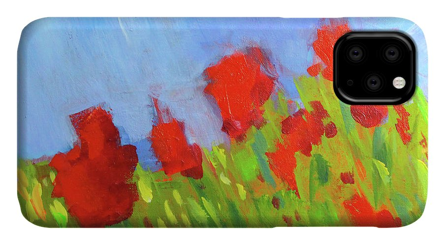 Abstract Floral Landscape IPhone Case featuring the painting Blooms by Nancy Merkle