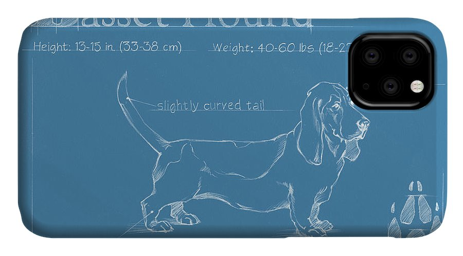 Dogs IPhone Case featuring the painting Blueprint Basset Hound by Ethan Harper