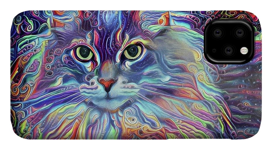 Long Haired Cat IPhone Case featuring the digital art Colorful Long Haired Cat Art by Peggy Collins