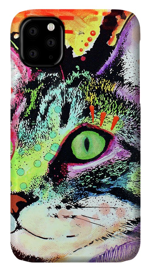Curiosity Cat IPhone Case featuring the mixed media Curiosity Cat by Dean Russo