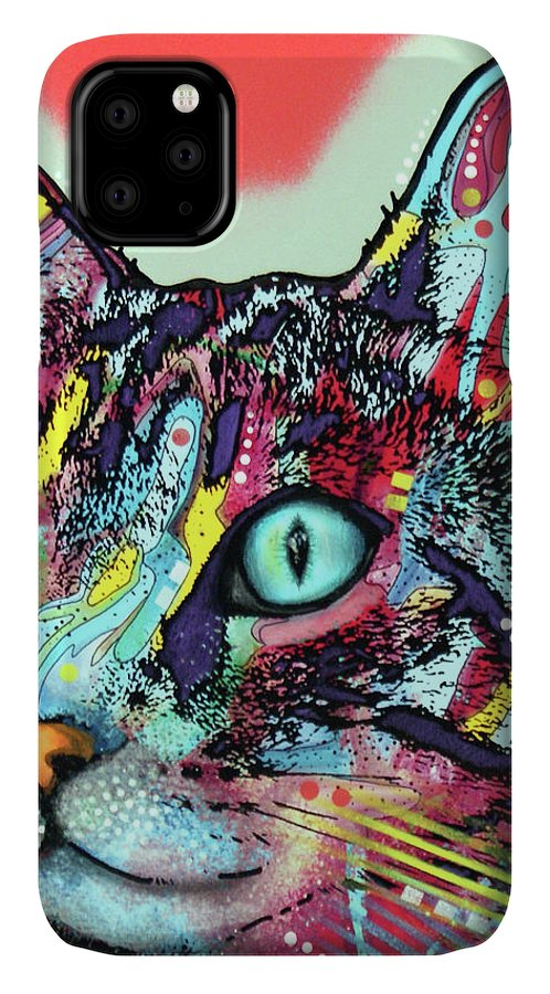Curious Cat IPhone Case featuring the mixed media Curious Cat by Dean Russo