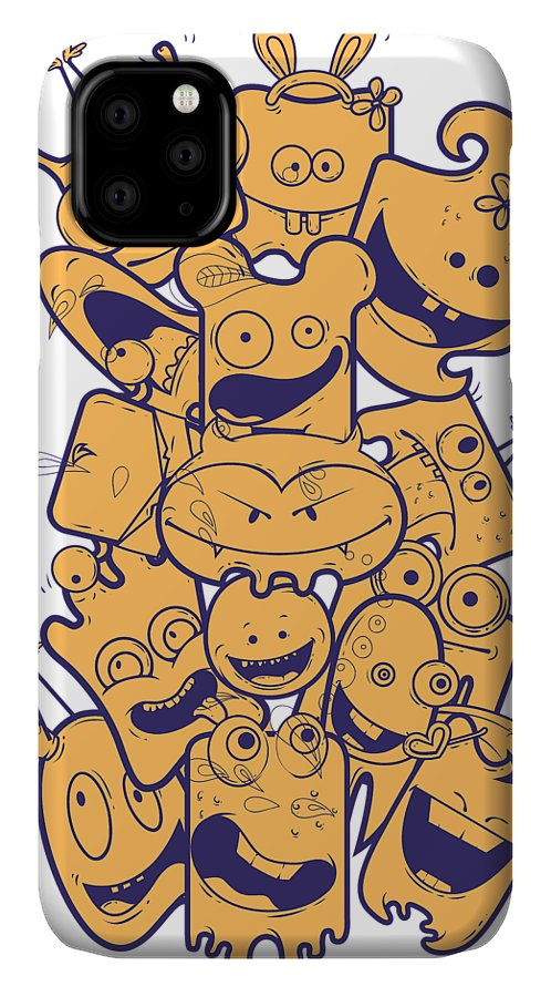 Halloween IPhone Case featuring the digital art Cute Monsters by Passion Loft