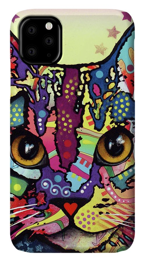 Maya Cat IPhone Case featuring the mixed media Maya Cat by Dean Russo