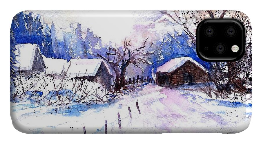 Mountain Village In Snow IPhone Case featuring the painting Mountain Village In Snow by Sabina Von Arx