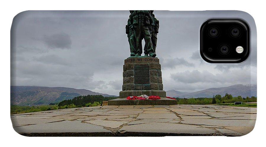 Commando Memorial IPhone 11 Case featuring the mixed media Scottish Commando Memorial by Smart Aviation
