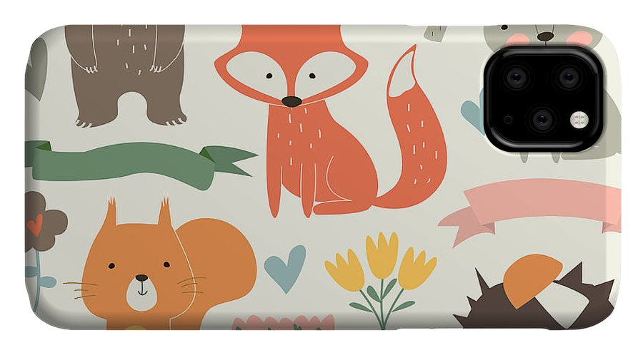 Forest IPhone Case featuring the digital art Set Of Forest Animals In Cartoon Style by Kaliaha Volha