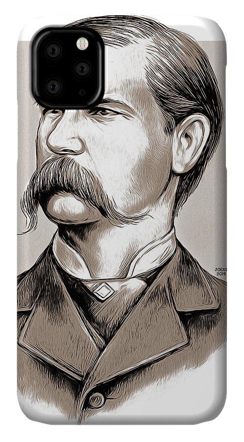 Wyatt Earp IPhone Case featuring the mixed media Wyatt Earp by Greg Joens