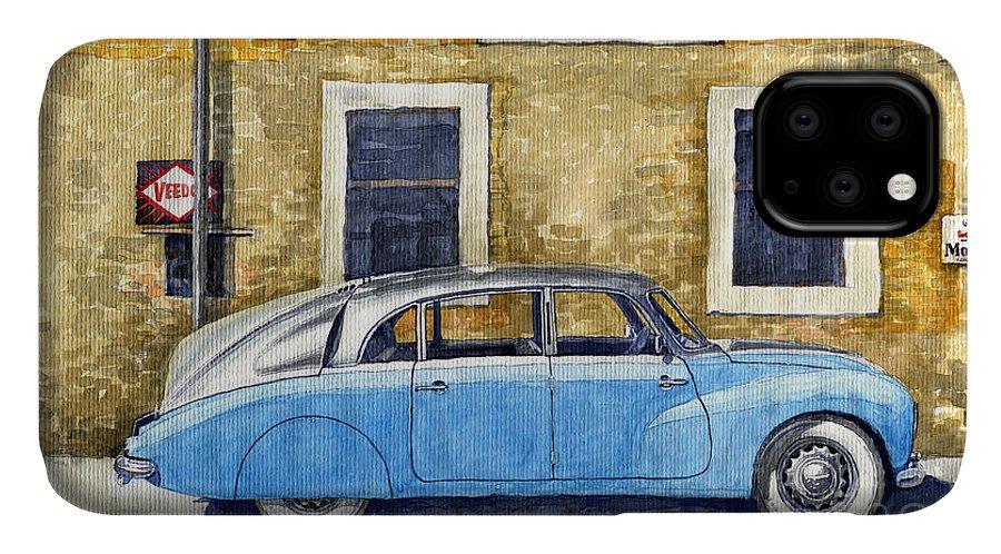 Shevchukart IPhone Case featuring the painting 1948-1949 Tatra T87 by Yuriy Shevchuk