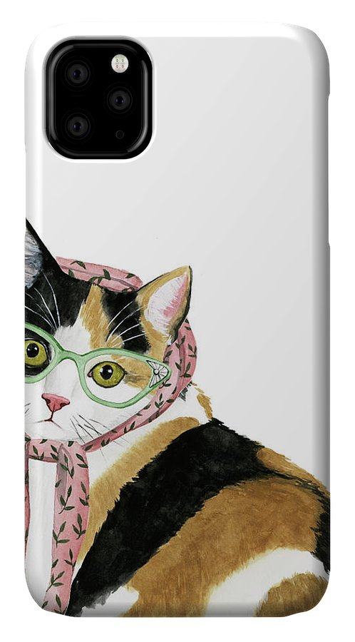 Pets IPhone Case featuring the painting Cool Cat I by Grace Popp