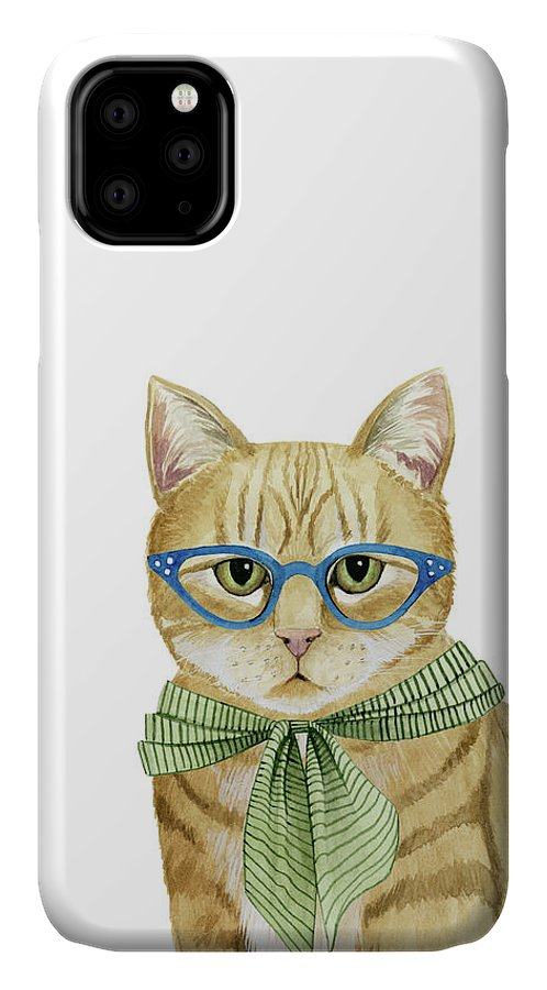 Pets IPhone Case featuring the painting Cool Cat Iv by Grace Popp