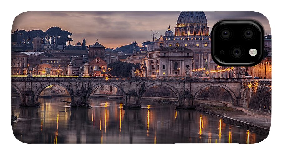 Capital IPhone Case featuring the photograph Illuminated Bridge In Rome, Italy by Sophie Mcaulay