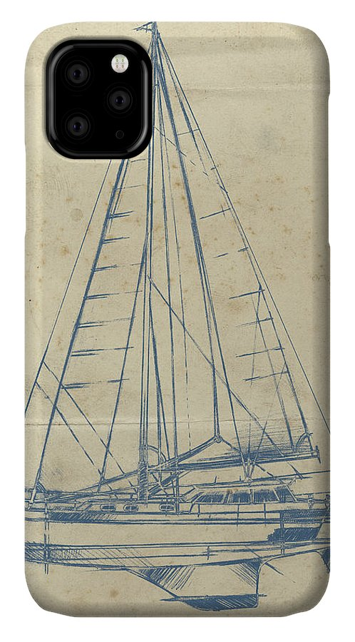 Transportation IPhone Case featuring the painting Yacht Blueprint I by Ethan Harper