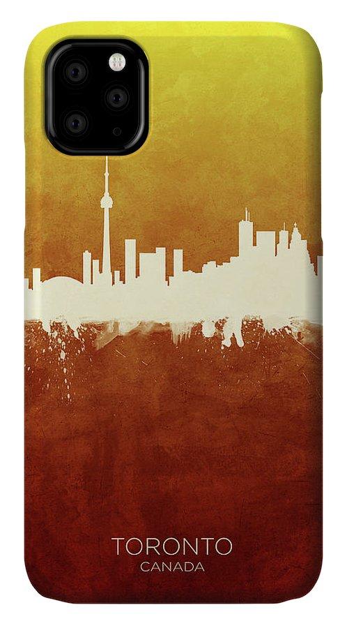 Toronto IPhone Case featuring the digital art Toronto Canada Skyline by Michael Tompsett