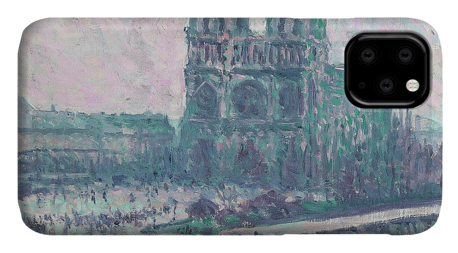 Maximilien Luce IPhone Case featuring the painting Notre-dame De Paris by Maximilien Luce