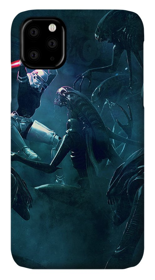Star Wars IPhone Case featuring the digital art 501 Vs Aliens 3 by Guillem H Pongiluppi