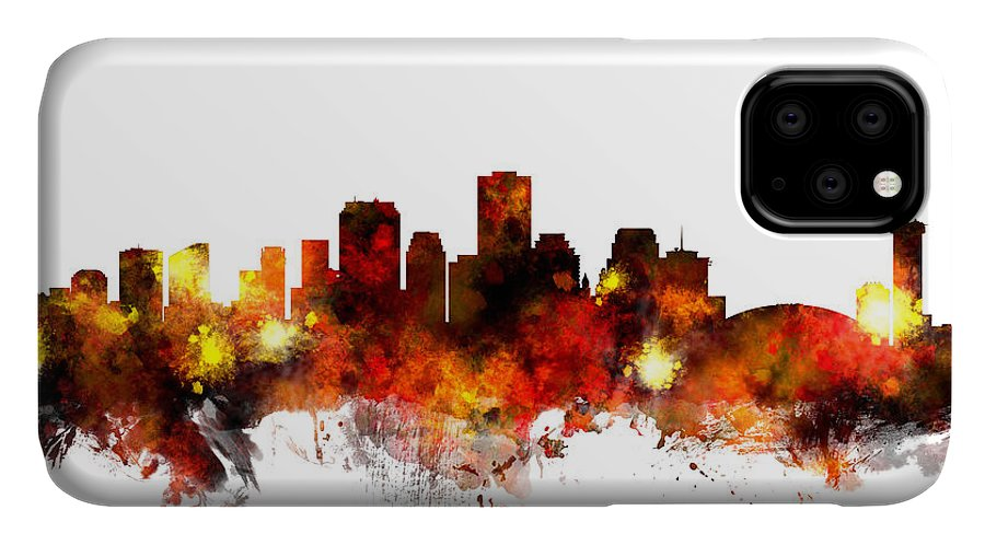 New Orleans IPhone Case featuring the digital art New Orleans Louisiana Skyline by Michael Tompsett