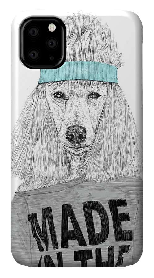 Dog IPhone Case featuring the drawing 80's Bitch by Balazs Solti