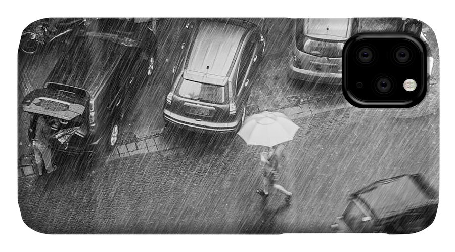 Woman IPhone 11 Case featuring the photograph A Woman Rushes To Cross The Street by Asiatravel