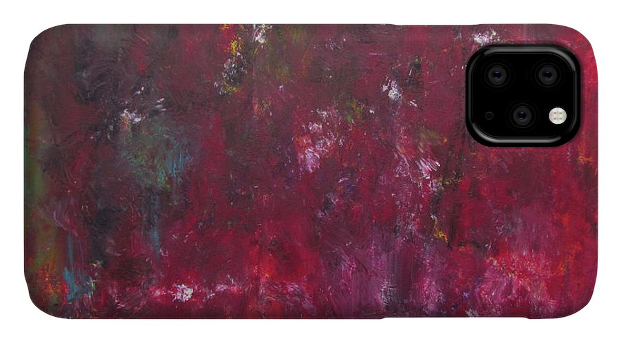 Rust Red IPhone Case featuring the painting Abstract Painting Rust Red by Patricia Piotrak