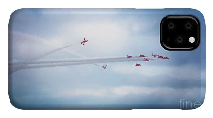 Red Arrows IPhone Case featuring the photograph Aerial Acrobatics by Terri Waters