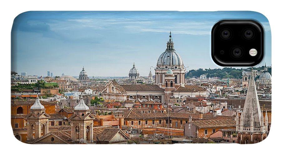Spain IPhone Case featuring the photograph Aerial Panoramic Cityscape Of Rome by Mariia Golovianko